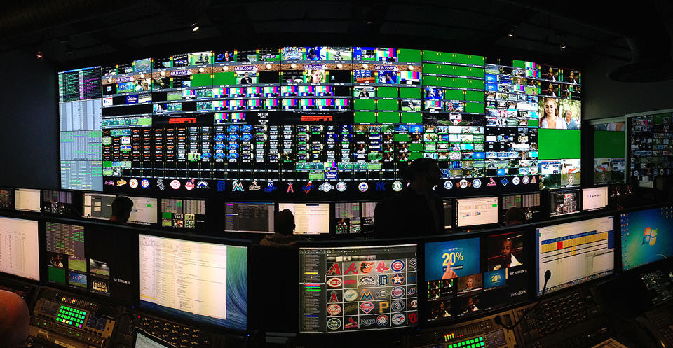 Control room of MLB's replay bunker