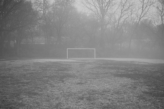 goal post in the fog